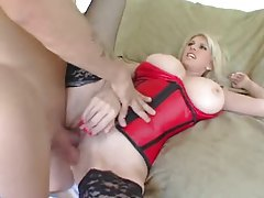 Milf in a sexy red corset fucked in her pussy tubes