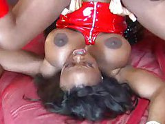 Two girls in latex hook up while he watches tubes