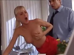 Office blonde in tight red dress fucked tubes