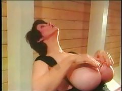 Babe in black lace teddy has huge tits tubes