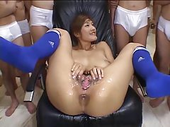 Pussy bukkake with a Japanese girl is messy tubes