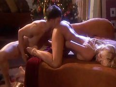 Erotic sex with a beautiful blonde on Christmas tubes