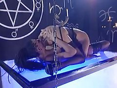 Goth chicks eat pussy and use fun toys in the dungeon tubes