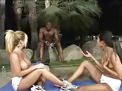 Topless chicks stretch and massage outdoors tubes