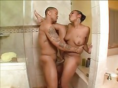 Cute sexy black chick in the shower fucked tubes