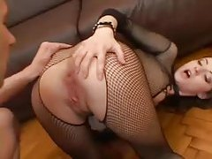 Fishnet body stocking looks perfect on her young body tubes