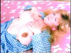 Retro girl makes her big tits lactate tubes