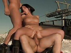 Beautiful ski babe fucked hard in the snow tubes