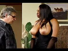 He motorboats her big black natural tits tubes