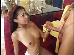 Asian in his dining room sucks his cock tubes