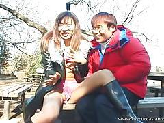 Really wild outdoor Japanese teen blowjob! tubes