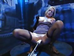 Blonde in gloves has dildo machine sex tubes