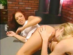 Hot blonde and brunette eat pussy and ass tubes