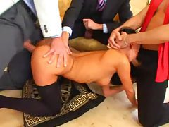 Dirty Euro girl with black hair have a gangbang tubes