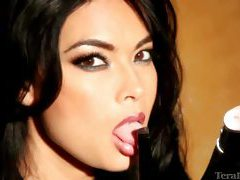 Tera Patrick sexy in a black lace blouse tubes