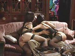 Erotic foreplay with two gorgeous lingerie women tubes