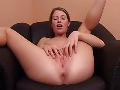 Her pussy gets wet as she fingers deep tubes