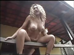 Fucking a Brazilian slut on his deck tubes