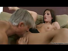 Skinny bitch fucked by old dude cock tubes
