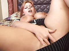 Fat redhead fingers pussy in hotel room tubes