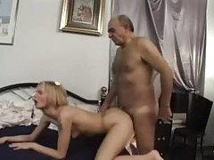 Hairy old guy fucks skinny little blonde bitch tube