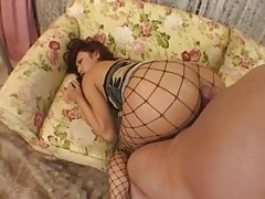 Japanese tease in sexy fishnet pantyhose tubes