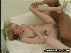 Amateur girlfriend homemade interracial action with black cock and cumshot tube