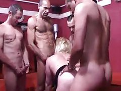 Horny matures in a gangbang video tubes