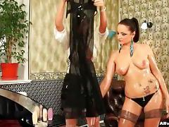 Sticky goo on two super hot Euro chicks tubes