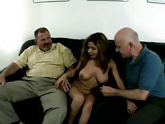Sexy Justine Fucks Two Old Guys tubes