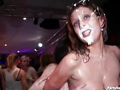 Topless sluts covered in whipped cream tubes