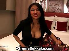Big tit Asian whore explaining why she loves to do bukkake videos tubes