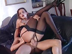 Euro babe in black gloves fucked in the cunt tubes