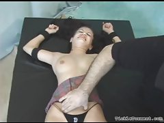 Fully bound girl tickled and giggling tubes