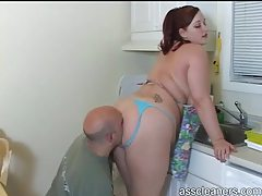 Rimming the ass of the redheaded housewife tubes