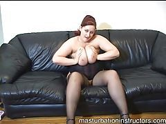 Fat redhead in sexy black corset instruction set tubes