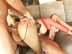 Horny whore in fishnets and collar threesome sex tubes