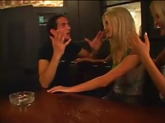 Gorgeous blondes blow him in the bar tubes