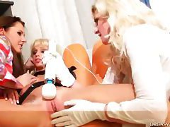 Lesbian threesome with all kinds of toys at play tubes
