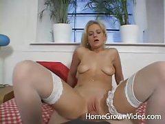 White stockings on a tremendous girl fucked in POV tubes