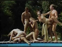 Sexy retro orgy poolside is hot stuff tubes