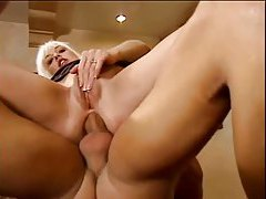 Fat cock fucks her plump pussy and her ass tubes