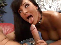Lisa Ann in fishnets suck and fuck tubes
