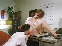 Retro ladies eating pussy in the office tubes