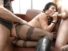 Crotchless pantyhose milf in boots fucked by two guys tubes