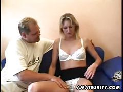 Blonde amateur girlfriend sucks and fucks with cumshot tubes