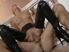 Latex booted babe gets fucked hard tubes