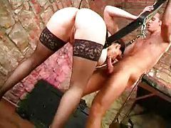 Down in his sex dungeon riding hard cock tubes