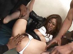 Gangbang of Japanese girl at a bank robbery tubes