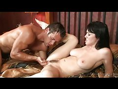 Muscular man fucks and cums on hot milf tubes